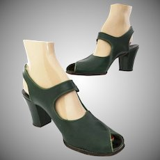 Vintage 1940s Heels | Ankle Straps | Green | Open Toe | Soft Lez by Sweetheart |