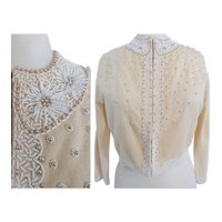 Vintage 1950's Beaded Sweater// 50s Cardigan//Faux Pearls//Beaded//50s Sweater//Mademoiselle//