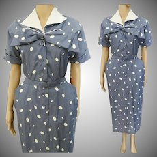 Vintage 1950s Dress//Gray Blue//Tags Attached//Larger Size//Bow Ornamentation//Never Worn