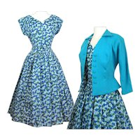 Vintage 1950s Dress//Matching Jacket//Novelty Print//Full Dress//NOS