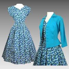 Vintage 1950s Dress//Matching Jacket//Novelty Print//Full Dress//NOS