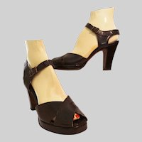 Vintage 1940s Platforms | Brown Leather | DeLiso Debs | Open Toe | Ankle Strap Heels |