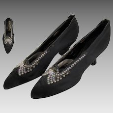 1920's Flapper Shoes Gatsby Glass Beaded Satin Dance