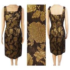 Reserved~~~~~Vintage 1950s Dress Ferman O'Grady Black and Gold Brocade