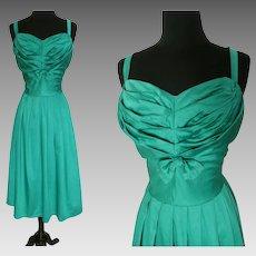 Vintage 1950s Sundress Green Cotton Shirred Bodice Built in Bra Full Skirt Cole of California