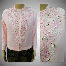 1950's Beaded Sweater//50's Cardigan//Rhinestones//Beaded//50's Sweater//Harilela's//Made in Hong Kong