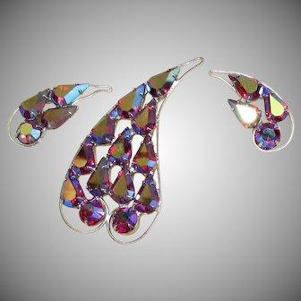 B. David AB brooch & clip earrings in presentation box Red Rhinestone