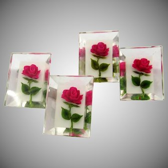 Vintage Lucite Brooch | Pair of (2) Clear | Roses