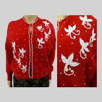 Vintage 1950's Jo Ro Miami Beach red angora beaded sweater