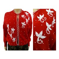 Vintage 1950's Jo Ro Miami Beach red angora beaded sweater