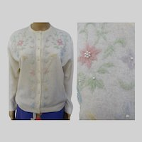 Vintage 1950s/1960s Deadstock Lambswool Floral Beaded Sweater w/ Pearl Buttons - Monrose Sportswear -