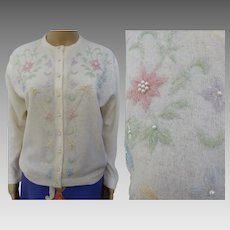 Vintage 1950s/1960s Deadstock Lambswool Floral Beaded Sweater w/ Pearl Buttons - Monrose Sportswear -