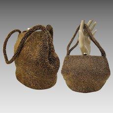 Vintage 1940s Purse - 40s Copper Beaded Handbag, Rhinestone Clasp, Unique Shape, Designer Jorelle Bag, Hand Made in Belgium