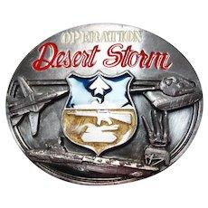 Vintage Men's Belt Buckle - Operations Desert Storm, Copyright 1991 Siskiyou, Message from General Norman Schwarzkopf.