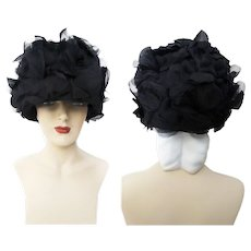 Vintage 1950s Hat - Black 50s Hat, Fanned Leaves, Chiffon, Couture, Femme Fatale, Rockabilly, Outrageously Gorgeous