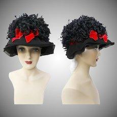 Vintage 1950s Hat - Black 50s Hat, Designer Hat, Dark Pink Bow, Fun, Flirty, Rockabilly, Double Chiffon Brim