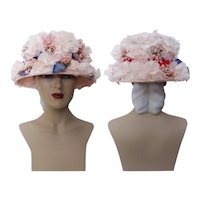 Vintage 1950s Hat - Floral 50s Hat, Valerie Modes, Velvet Headband, Femme Fatale, Couture, Rockabilly, Bursting with Flowers
