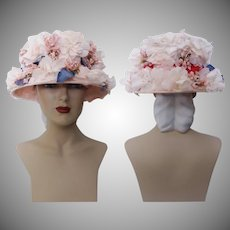 Vintage 1950s Hat - Floral 50s Hat, Valerie Modes, Velvet Headband, Femme Fatale, Couture, Rockabilly, Bursting with Flowers