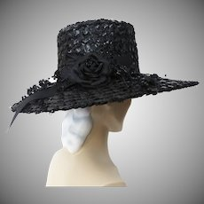 Vintage 1950s Hat - Large Brim Black Weave 50s Hat, Rose with Beaded Sprays, Marshall Field Company, Couture, Femme Fatale, Rockabilly