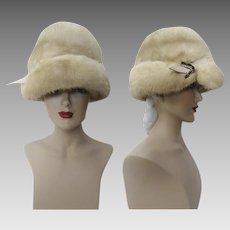 Vintage Mink Hat | Palomino Mink | 1960s | Plush | Wide Brim | Rhinestone Ornamentation | Couture | New Look
