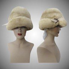 Vintage Mink Hat | Palomino Mink | 1960s | Plush | Wide Brim | Rhinestone Ornamentation | Couture | New Look