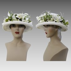 Vintage 1950s Hat - White Floral 50s Hat, Houland - Swanson Millinery Salon, Femme Fatale, Mad Man, Wedding Hat