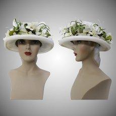 Vintage 1950s Hat - White Floral 50s Hat, Houland - Swanson Millinery Salon, Femme Fatale, Mad Man, Wedding Hat