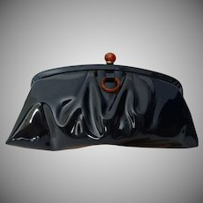 Vintage 1950s Sleek Shiny Black Clutch Handbag Retro Mid Century