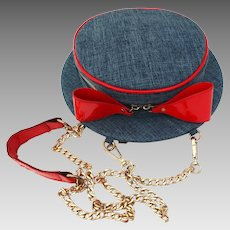 Vintage 1960s Purse//Hat Shaped //Denim// Red Trim//Shoulder Bag