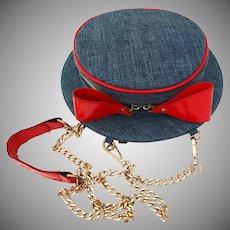 Vintage 1960s Purse//Hat Shaped //Denim// Red Trim//Shoulder Bag
