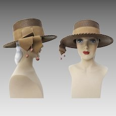 Vintage 1960s Hat//Brown//Marshall Field & Company//Tassels//60s Hat//Rockabilly//