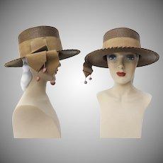 Vintage 1960s Hat//Brown//Marshall Field & Company//Tassels//60s Hat//Rockabilly//