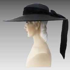 Vintage 1940s Hat // 40s Black Hat // Large Brim// Designer Lemington // Draping Black Bow// 40s Wide Brim Hat