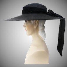 Vintage 1940s Hat // 40s Black Hat // Large Brim// Designer Lemington // Draping Black Bow// 40s Wide Brim Hat