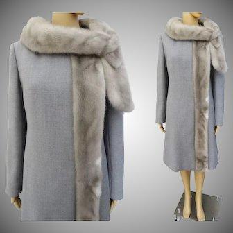 Vintage 1950s Coat//Silver Mink Trim//Carlisle Couture