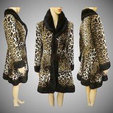Vintage LEOPARD PRINT COAT | Faux Fur Trim | Princess Style | 1970s