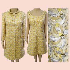 b07720409e4b Vintage Dress // 1950s //Gold Silver Metallic // Matching Coat //