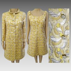 Vintage Dress // 1950s //Gold Silver Metallic // Matching Coat //Saks Fifth Avenue// Rhinestone Buttons // Cocktail Dress //Overcoat