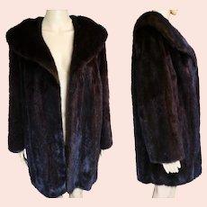 Vintage Mink Coat   DARK BROWN MINK   Big Shawl Collar   1960s Original Mink   High Fashion   New Look   Mod  