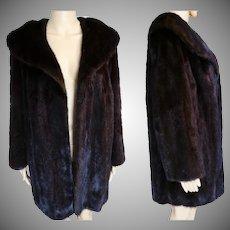 Vintage Mink Coat | DARK BROWN MINK | Big Shawl Collar | 1960s Original Mink | High Fashion | New Look | Mod |