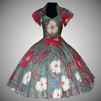 Vintage 1950s Dress Vic Trent Hand Painted Floral Sundress With Jacket