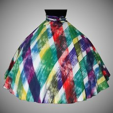 Vintage 1950s Mexican Skirt//Maya//Full Circle Skirt//50s Skirt//Mexican//Hand Painted//