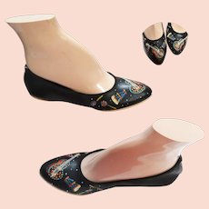 "70s ""Ballerina"" Flats Shoes - NOS Black Leather Handpainted Musical Theme from Guilfair/Guild Shoes - 5-1/2 - 1970s"