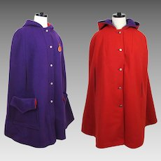 Reversible Wool Cape with hood - Purple & Red by Great Six - 1970s