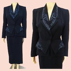 1940s Carnival Beaded Suit Vintage 40s Jacket and Skirt Dark Blue New Look Fall Fashion