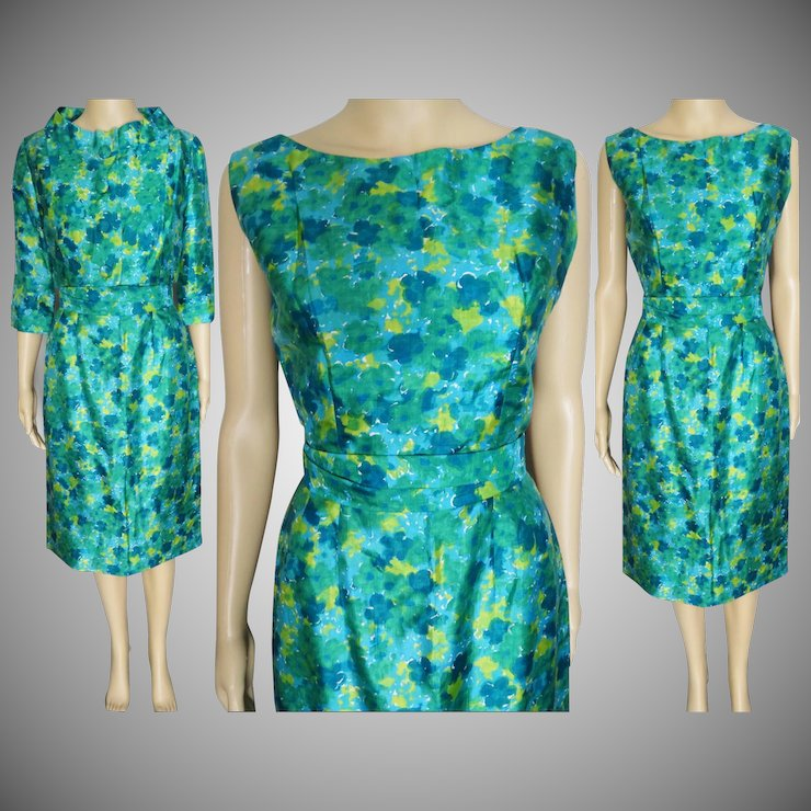 1950s Dress Novelty Print With Matching Bolero Jacket Gigi