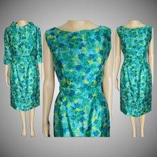 1950s Dress // Novelty Print// Dress with Matching Bolero Jacket // Gigi Young // Silk // 50s Dress