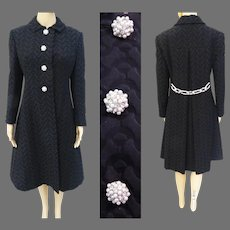 Vintage 1950s Coat//Black Textured //Original Bellciano - New York//50s Evening Coat//Fall Fashion