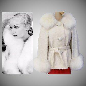 BREATHTAKING Vintage Fox Fur Coat// Jacket// Cape// Creme