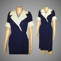 Vintage 1940s Dress .  40s Dress . Navy Blue  . Polka Dots